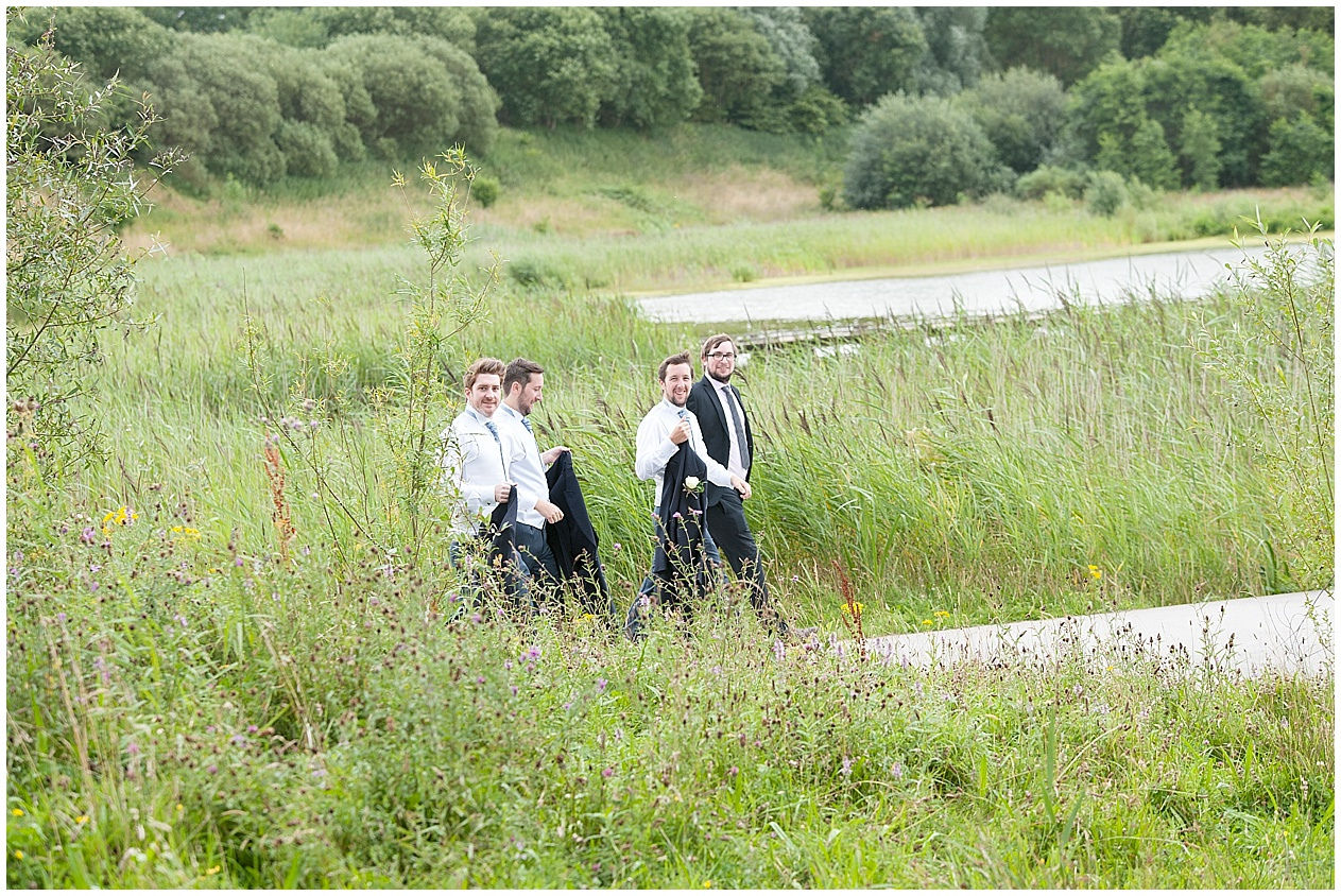 wedding guests at Brockholes nature reserve in Preston
