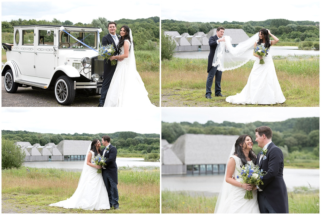 Bride and groom pictured with their wedding day car at Brockholes nature reserve in Preston.