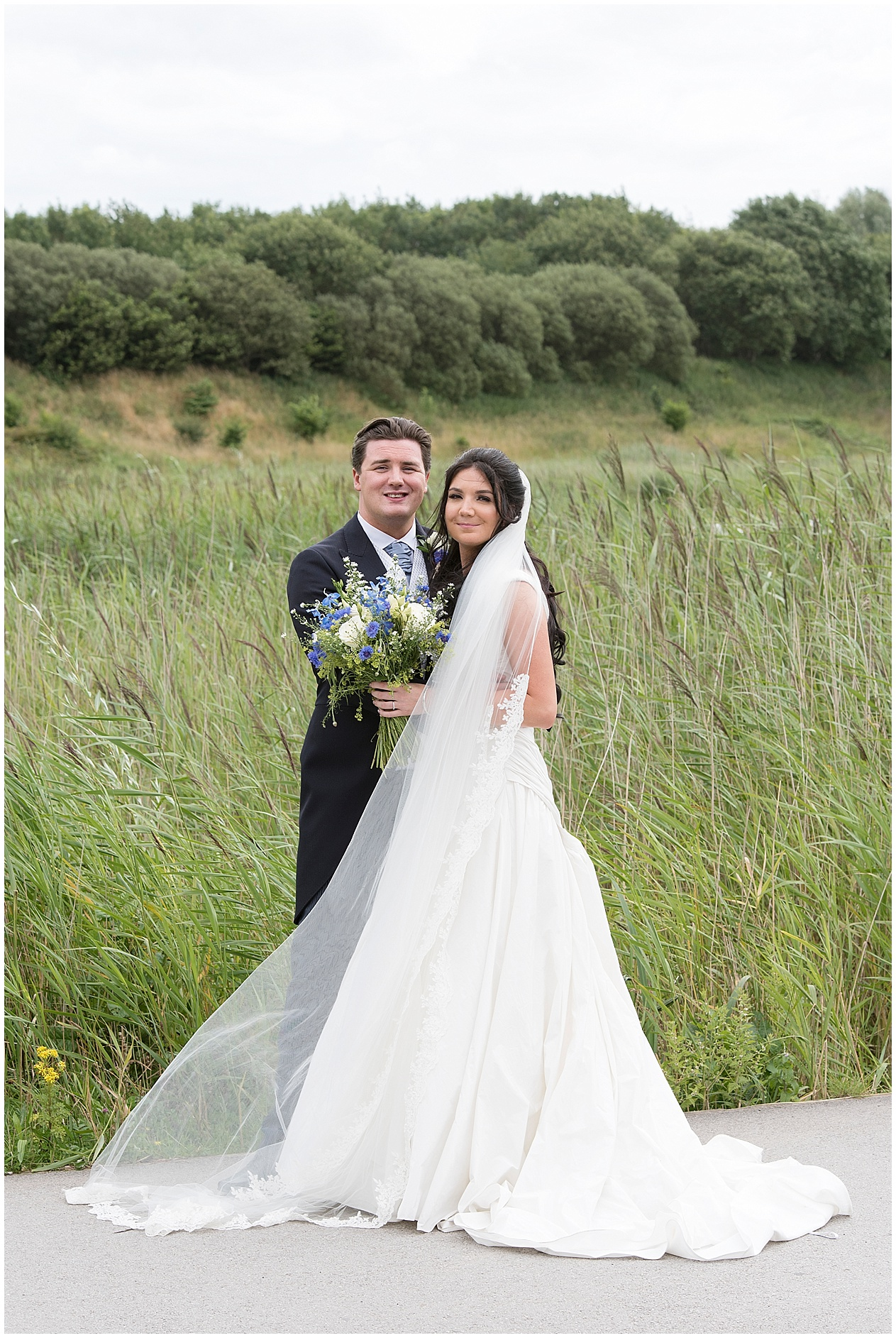 Lancashire wedding photographer. Bridal portrait of a bride and groom on their wedding day in Preston.