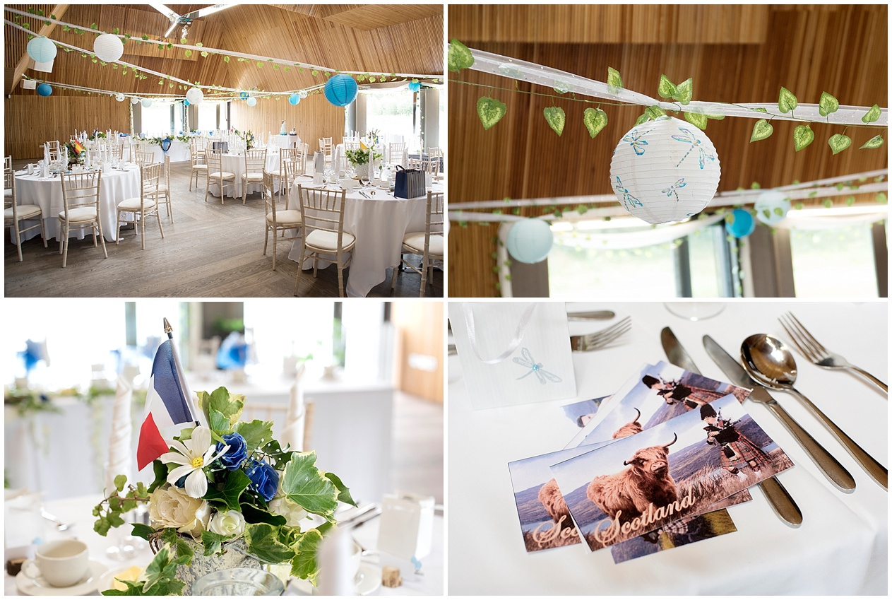 The wedding reception room at Brockholes nature reserve in Preston dressed for a wedding.
