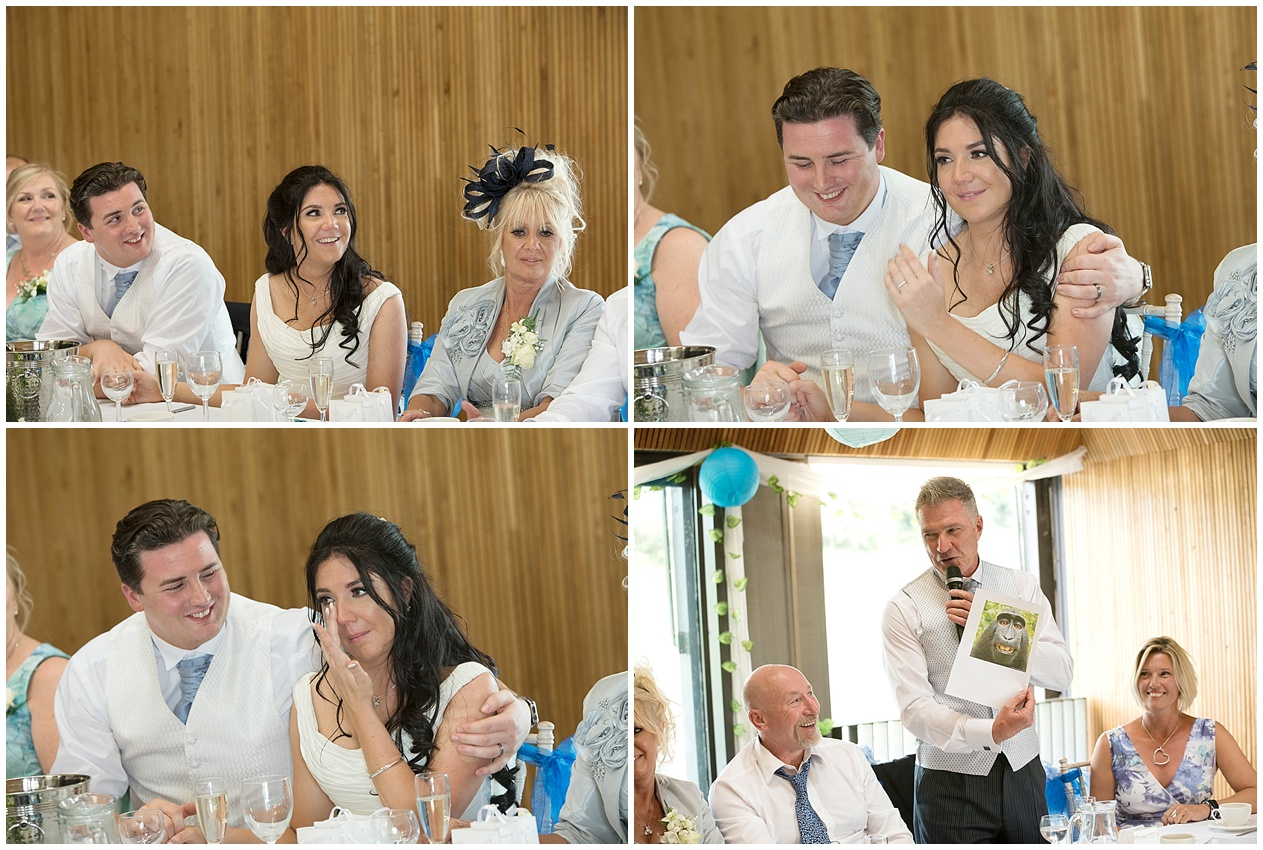 Guests enjoy the speeches at a wedding in Lancashire.