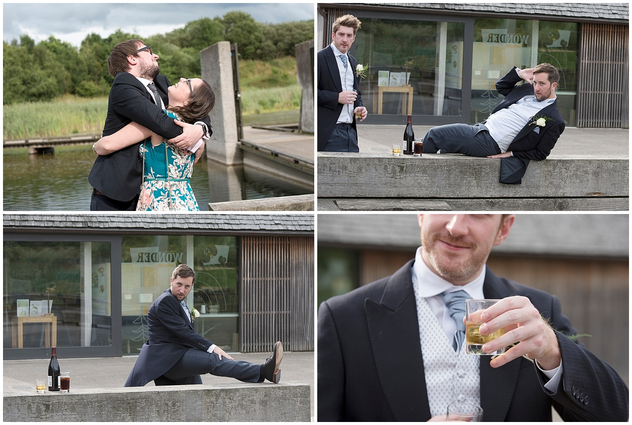 Guests have fun at a wedding at Brockholes nature reserve in Preston.