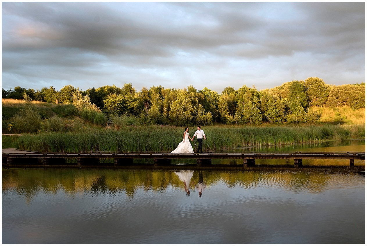 Bride and groom at sunset. Brockholes nature reserve wedding photography