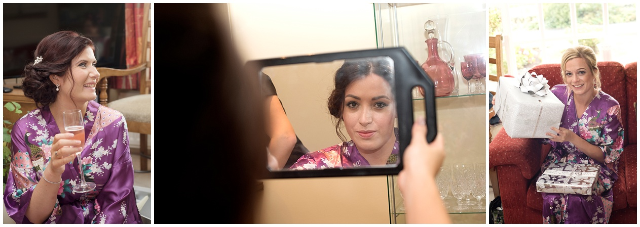 Lancashire wedding photographer. Bride gets ready on her wedding day morning.