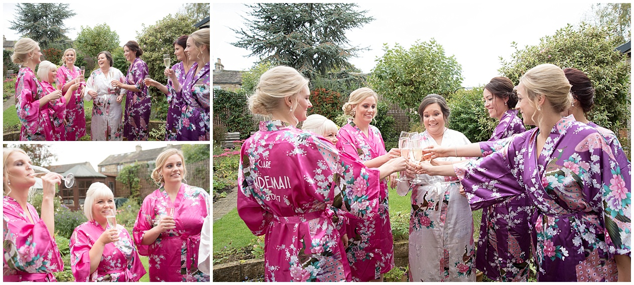 Stirk House wedding photography. Bridesmaids drink champagne on a wedding day morning.