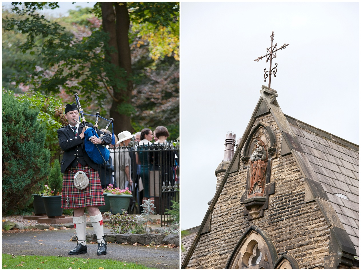 Scottish piper plays for guests outside a church.