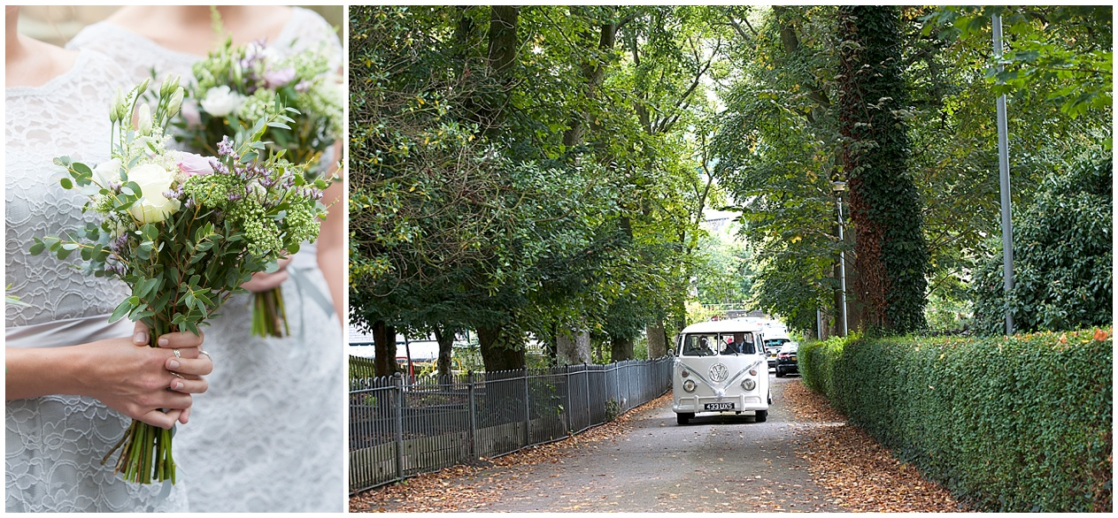 Lancashire wedding photographer. Camper van wedding car.