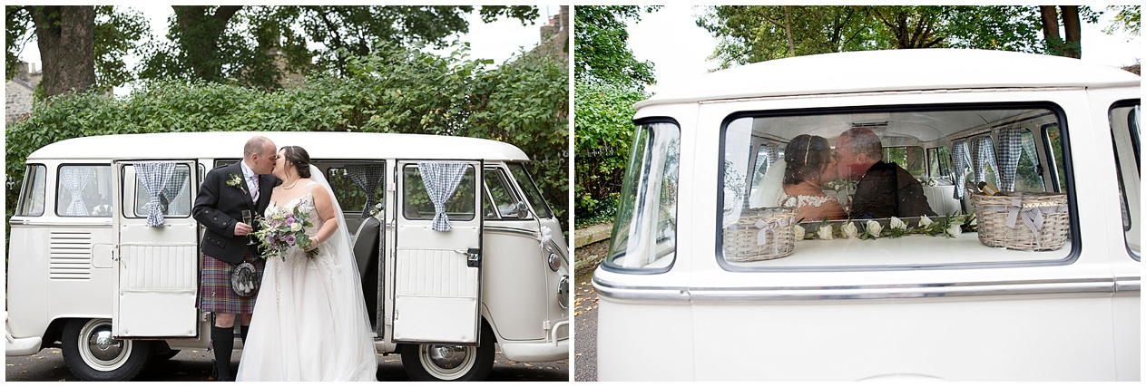 Bride and groom pictured in a camper van on their wedding day.