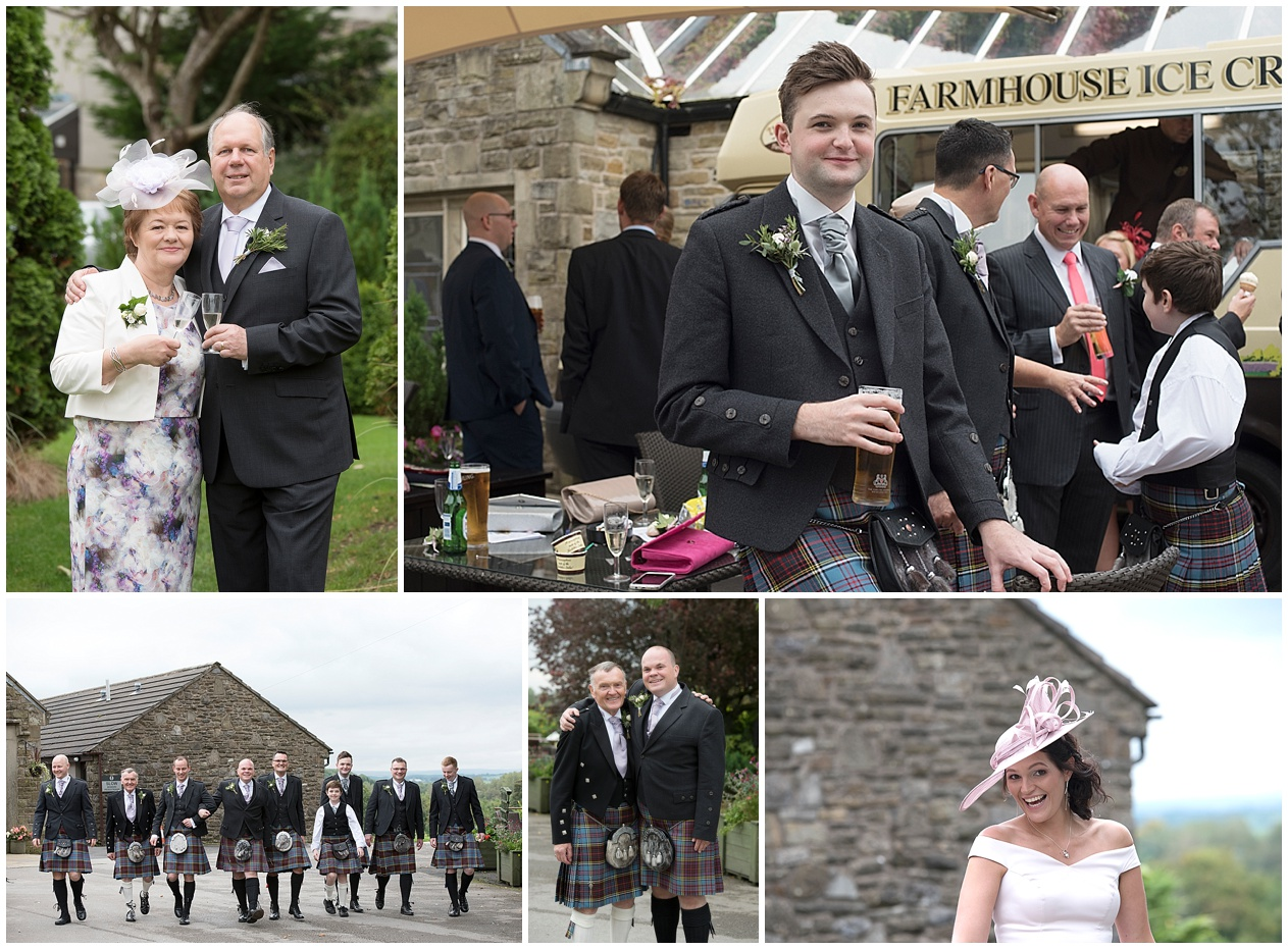 Wedding guests enjoy a wedding at Stirk house. Lancashire wedding photographer.