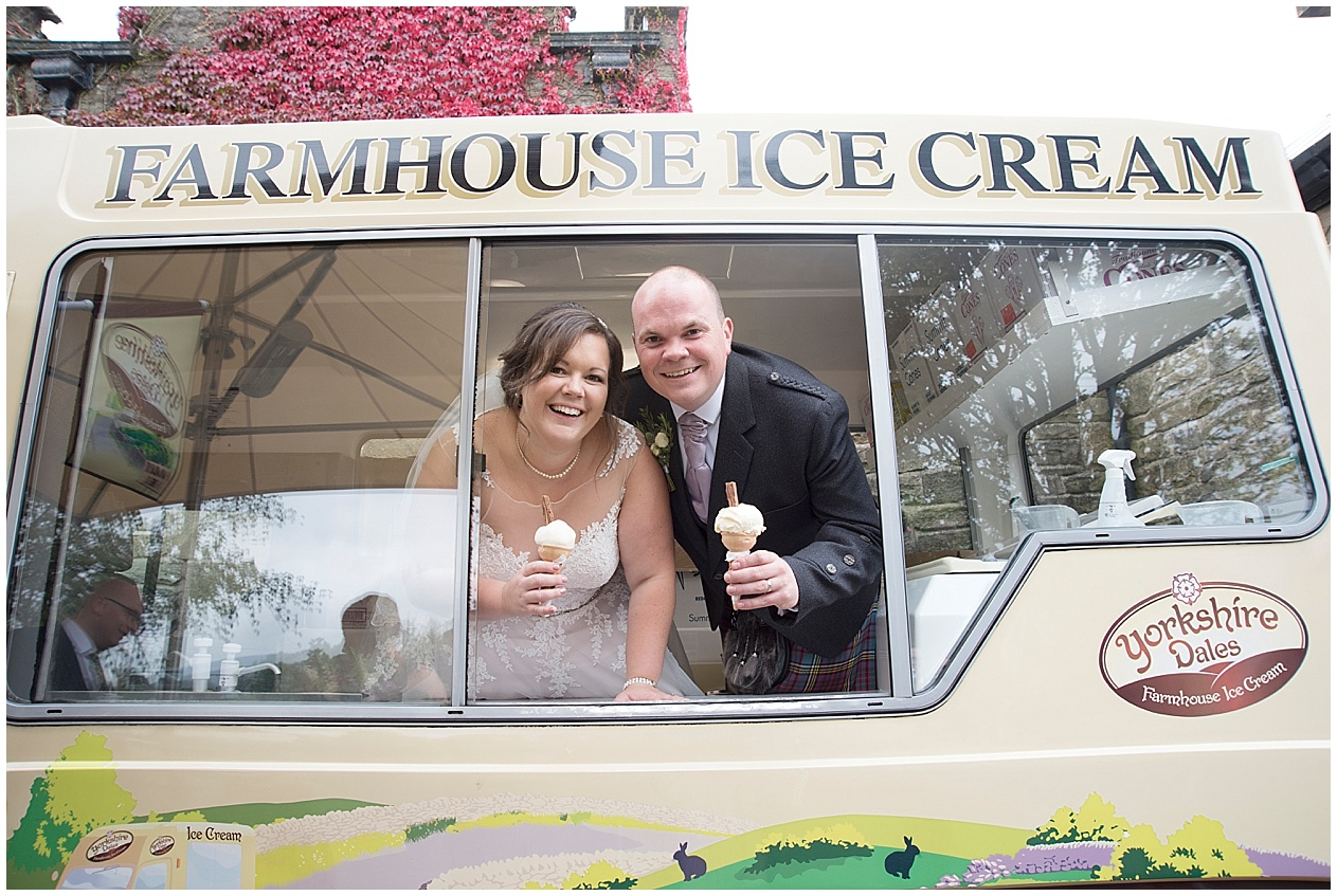 Bride and groom share an ice cream on their wedding day. Strik House wedding photography