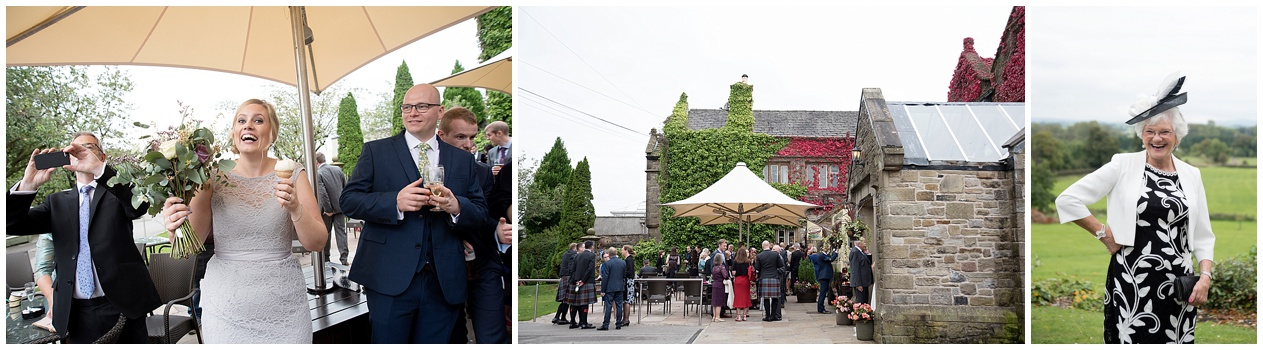 Guests enjoying reception drinks at a wedding at Stirk House in Lancashire.