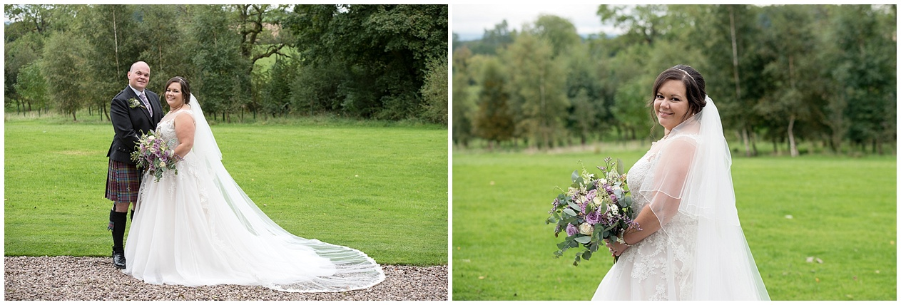 Portraits of a bride on her wedding day at Stirk House in Lancashire.