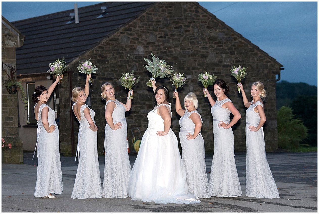Beautiful bridesmaids at a wedding at Stirk House in Lancashire.