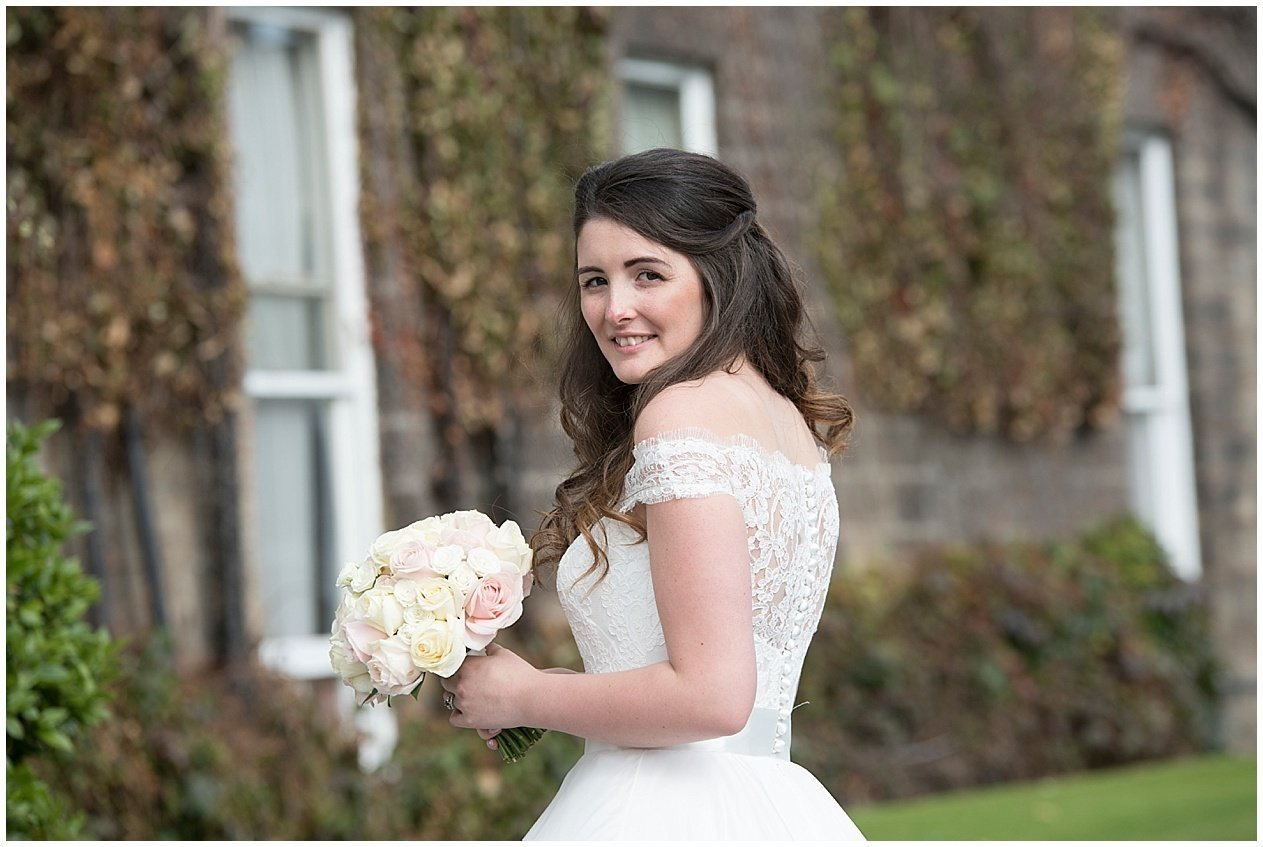 Beautiful portrait of a bride on her wedding day in Harrogate. Yorkshire wedding photographer.