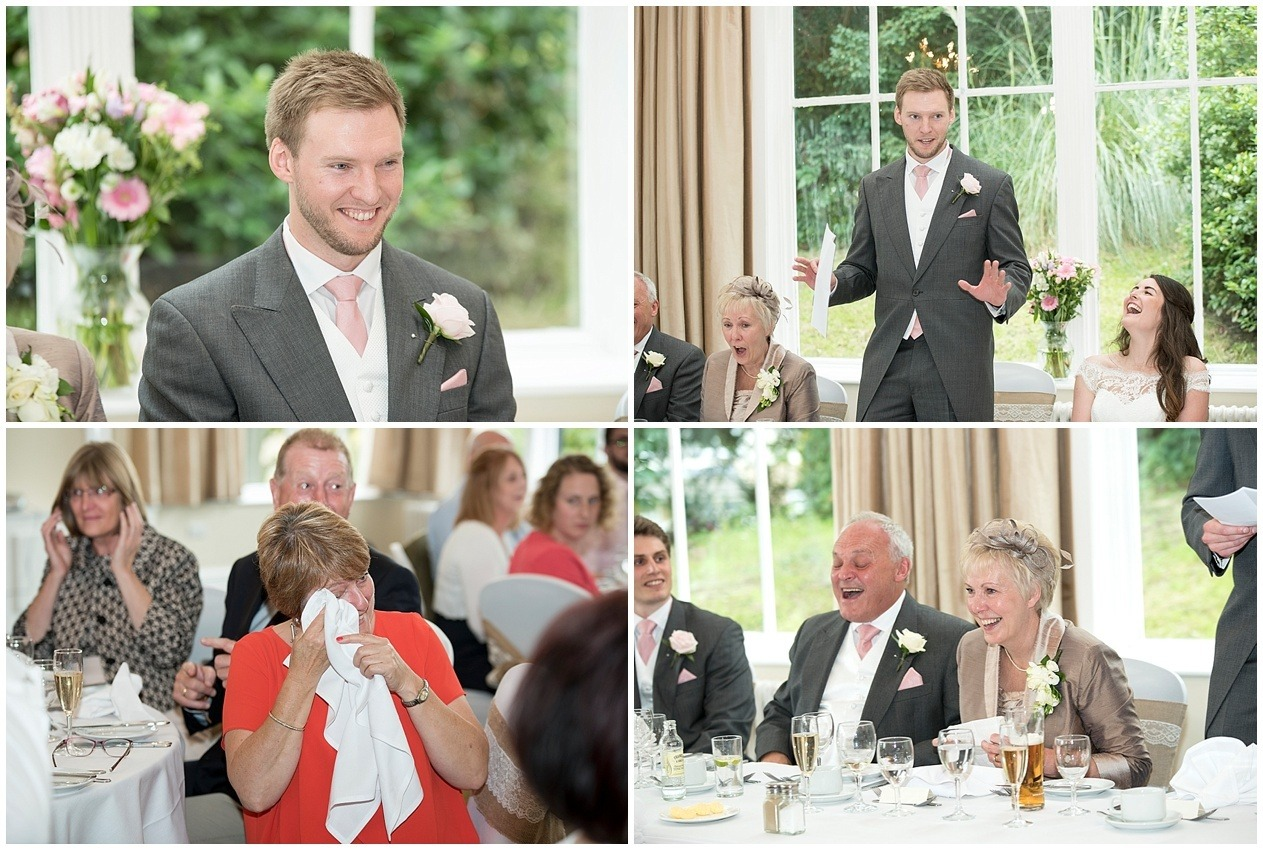 Guests laughing at the grooms speech. Harrogate wedding photographer