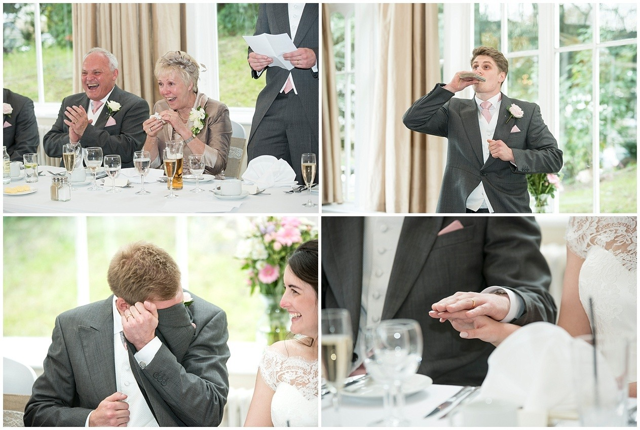 Mother of the bride laughs during the speeches at a wedding in Harrogate
