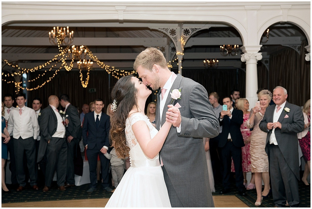 The Old swan hotel wedding photography. Bride and groom pictured during their first dance.