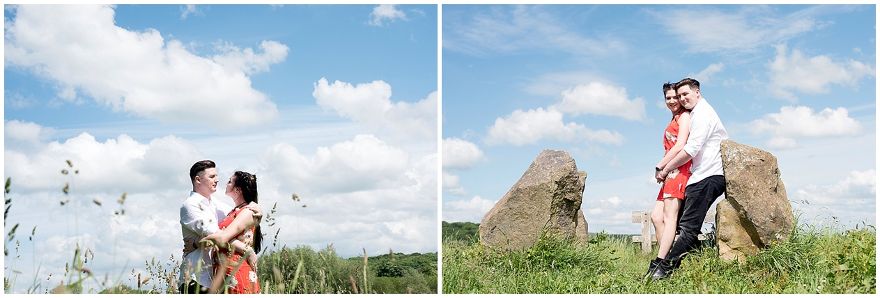 Preston wedding photographer. A couple pictured at the stone circle on their engagement photoshoot at Brockholes nature reserve.