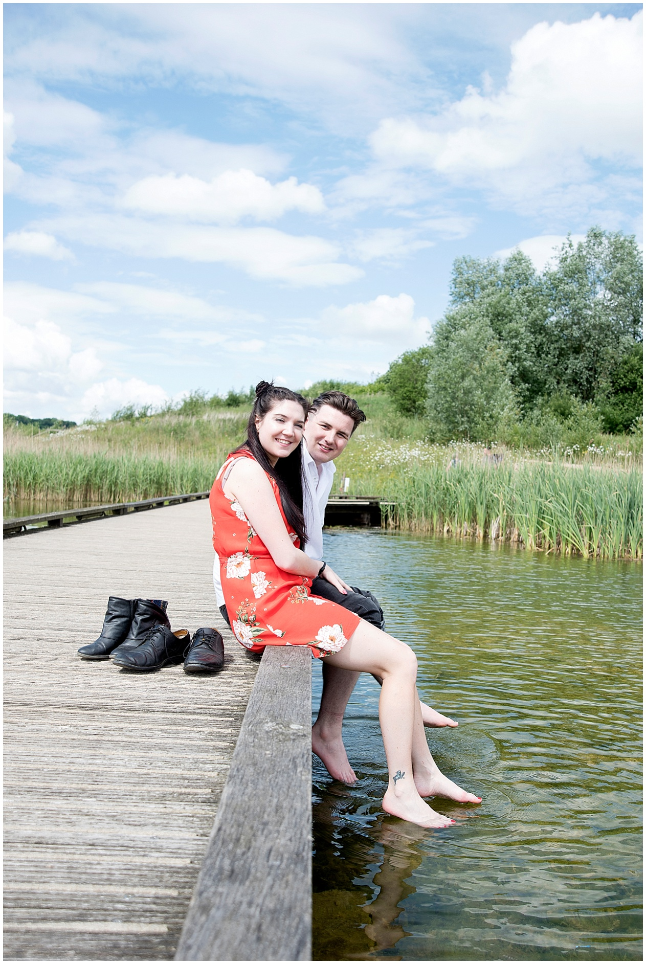 Preston Wedding photographer. A couple pictured on their engagement photoshoot at Brockholes nature reserve.
