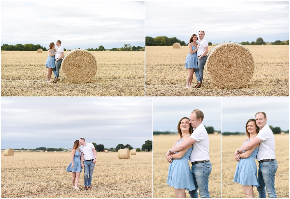 Couple pictured in the cornfields in the Hertfordshire countryside on their engagement photoshoot. Wedding photography in Hitchin