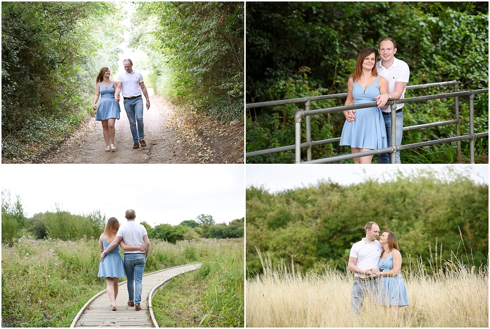 A smiling couple pictured on their pre wedding photography shoot in Hitchin.