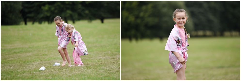 Flower girls on the lawn at Hitchin Priory