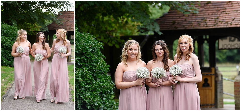 Hitchin Priory wedding photography. Bridesmaids arrive at church.