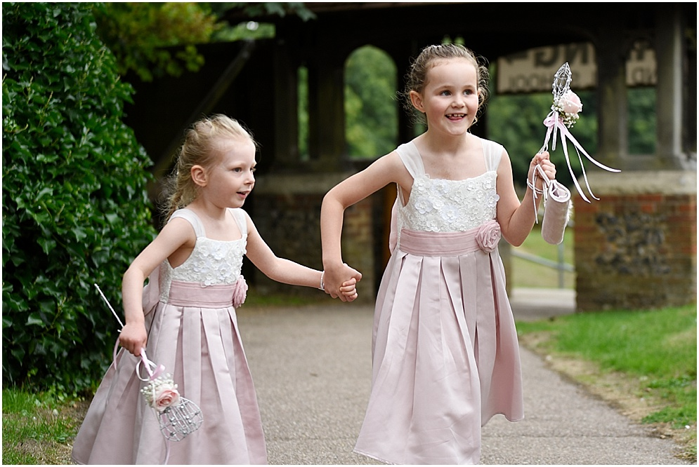 Flower girls outside a church