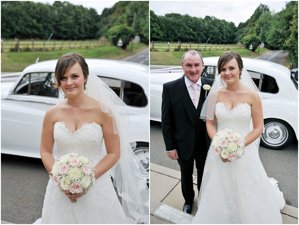 Bride pictured with her dad arriving at church. Church wedding in Hertfordshire