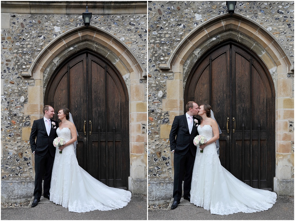 Bride and groom pictured in the doorway of St Nicholas church in Stevenage on their wedding day.