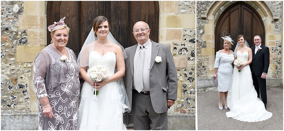 Bride photographed with her mum and dad.