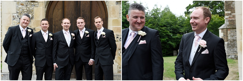 Groom pictured with his groomsmen outside St Nicholas church in Stevenage.