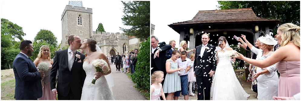 Bride and groom have confetti thrown at them at St Nicholas church in Stevenage.