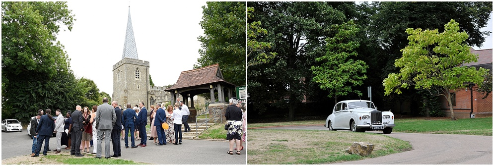 Guests pictured outside St Nicholas church in Stevenage on a wedding day.