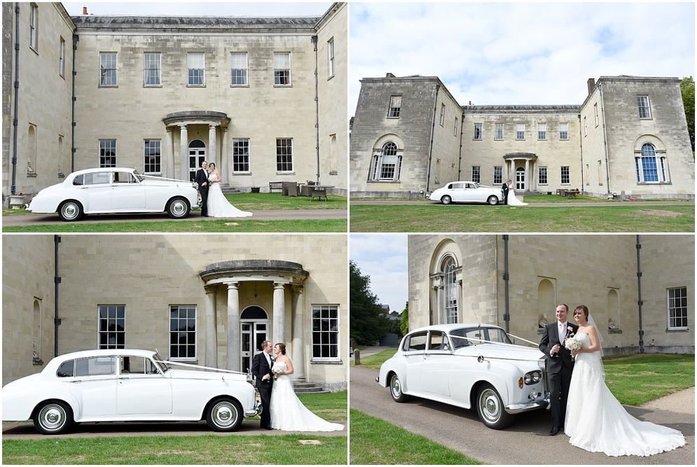 Bride and groom pictured with their wedding car. Hitchin Priory wedding photography.