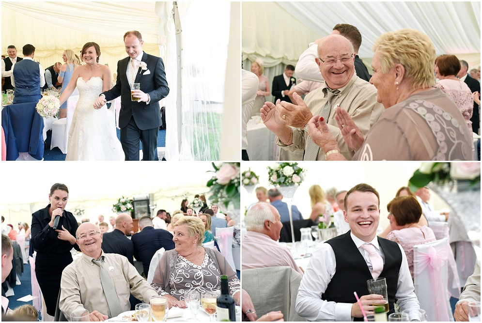 Guests have fun with the singing waiters at a wedding in Hitchin.