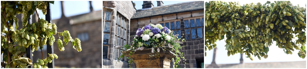 Flowers decorate the courtyard at Hogton tower on a wedding day.