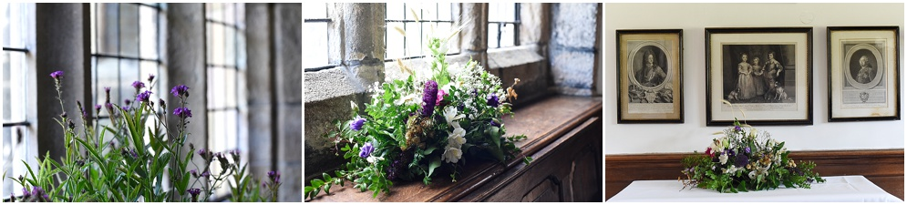 Flowers decorate the inside of Hoghton tower on a wedding morning as sunshine streams in the window.