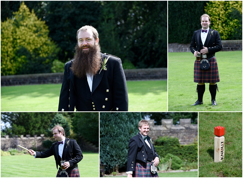 Groomsmen enjoy playing games at a wedding at Hoghton Tower in Lancashire.