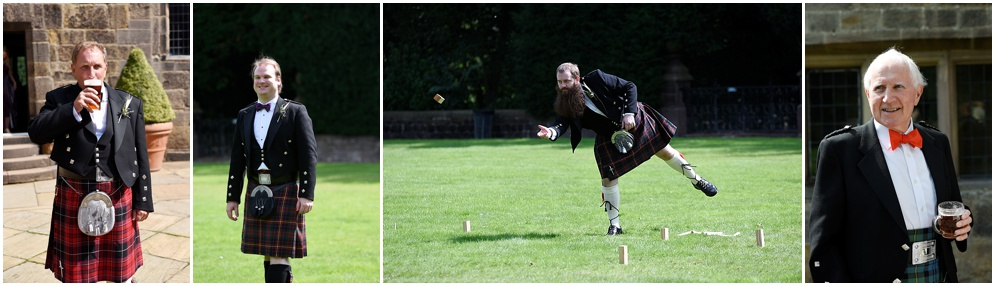 Guests wearing kilts for a Scottish themed wedding at Hoghton Tower.