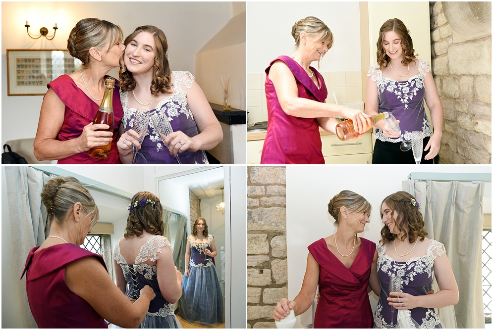 Bride and her mother share a glass of champagne before her wedding day.