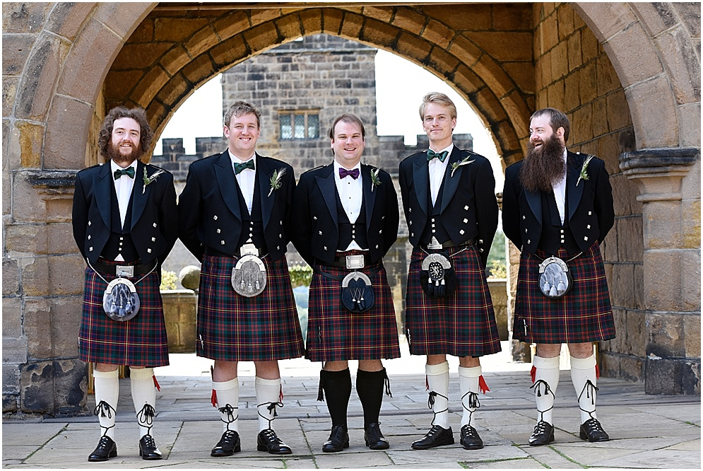 Groomsmen in kilts. Lancashire wedding photographer.