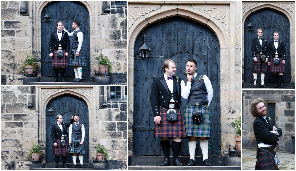 Groom and his groomsmen wear kilts at a wedding at Hoghton Tower in Lancashire.