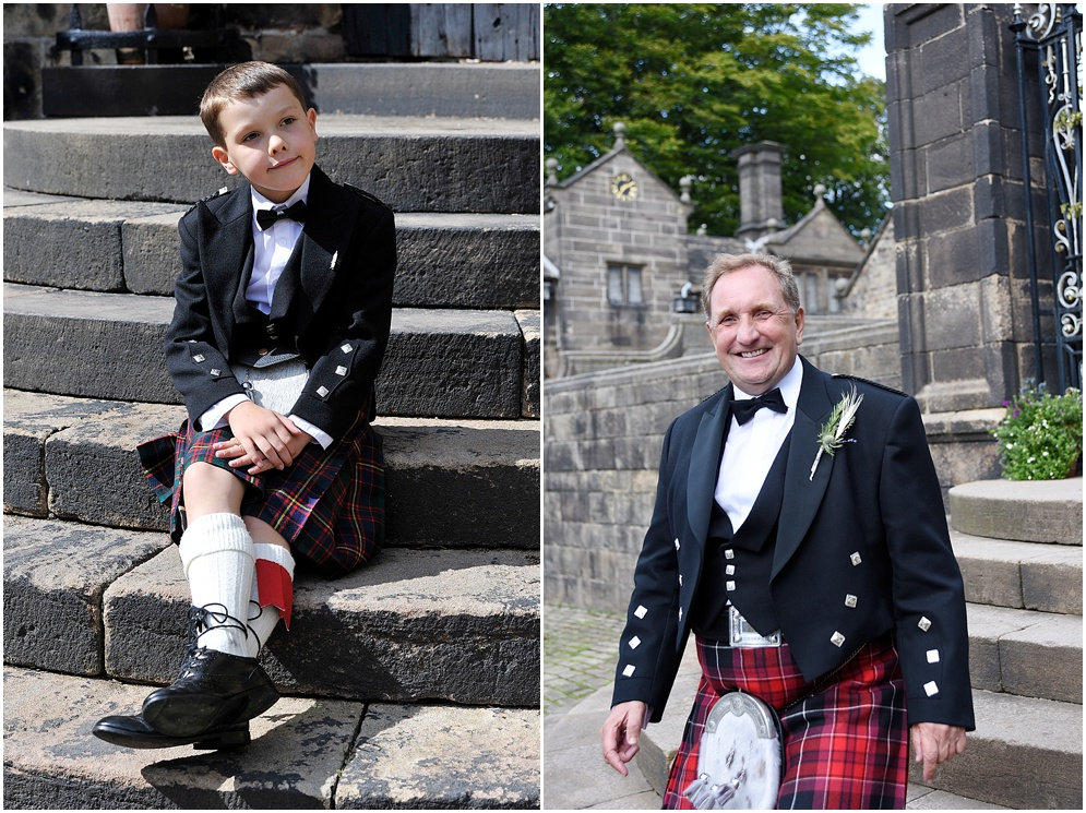 Guests wearing kilts on a wedding day at Hoghton Tower.