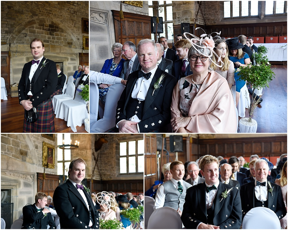 Guests await the arrival of the bride at a wedding at Hoghton Tower in Lancashire.