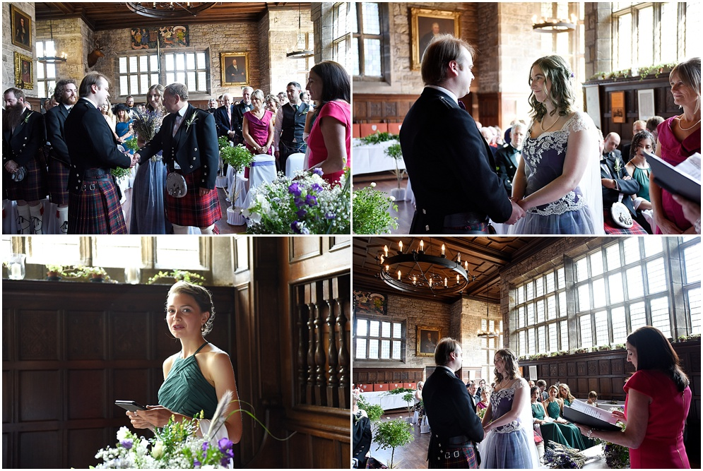 Guests pictured during the wedding ceremony at Hoghton Tower in Lancashire.