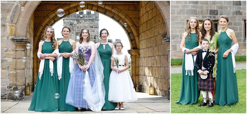 Bride and her bridesmaids in green.