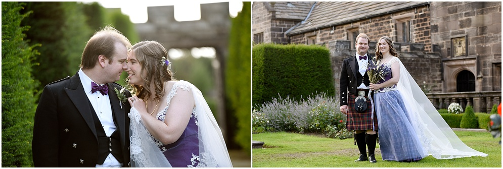 Bride and groom pictured in the gardens of Hoghton Tower in Lancashire on their wedding day.