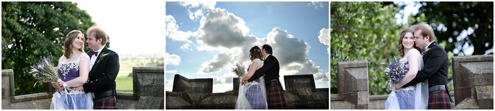 Bride and groom pictured in the grounds of Hoghton Tower on their wedding day. Lancashire wedding photographer.