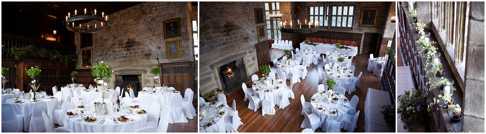 Hoghton Tower Ceremony room decorated for a wedding.